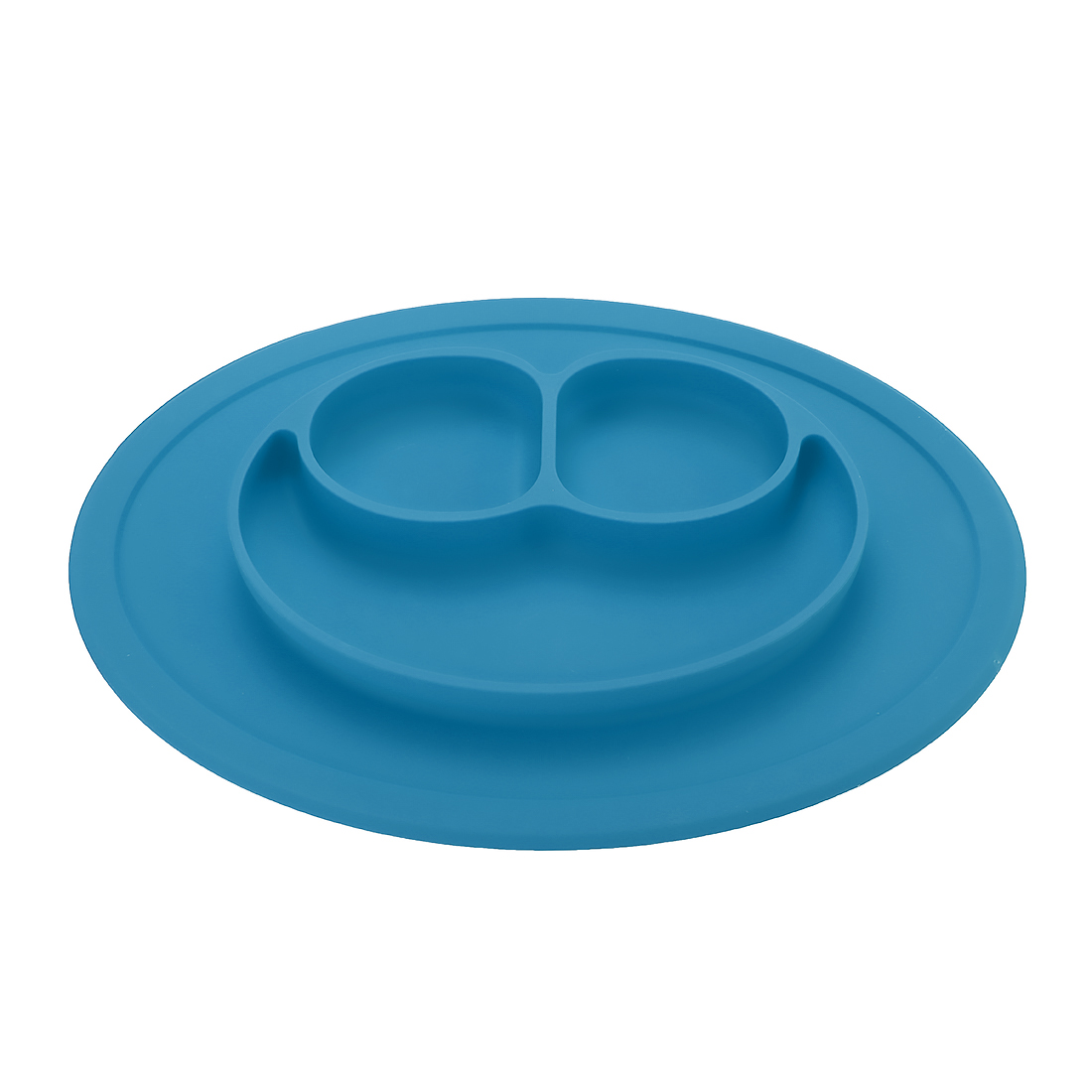 Baby Kids Child Suction Table Food Plate Cute Bowl Silicone Mat - Light Blue