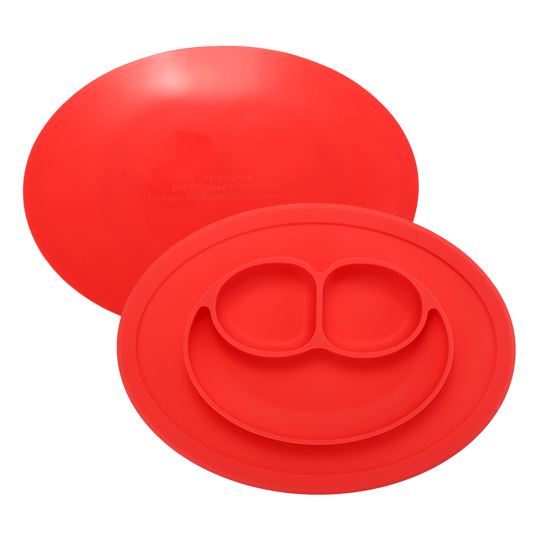 Baby Kids Child Suction Table Food Plate Cute Bowl Silicone Mat - Red