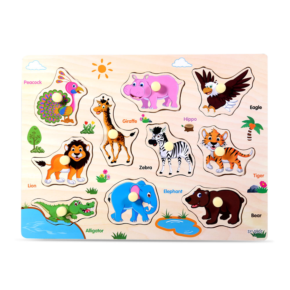 Wooden Animal Letter Puzzle Jigsaw Early Learning Baby Kids Educational Toys - S907