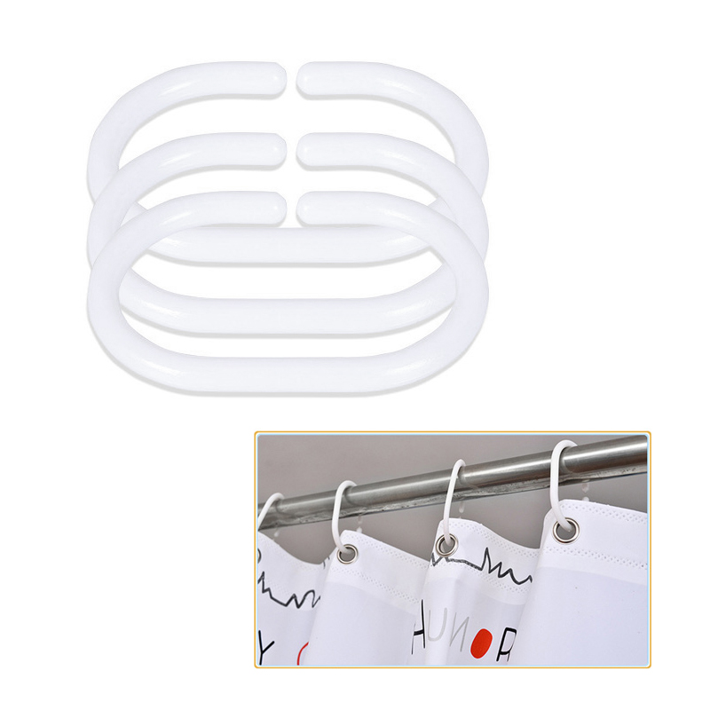 12Pcs Shower Plasticl Curtain Rings Hooks C Type Replacement Clear Bathroom Curtain Hook