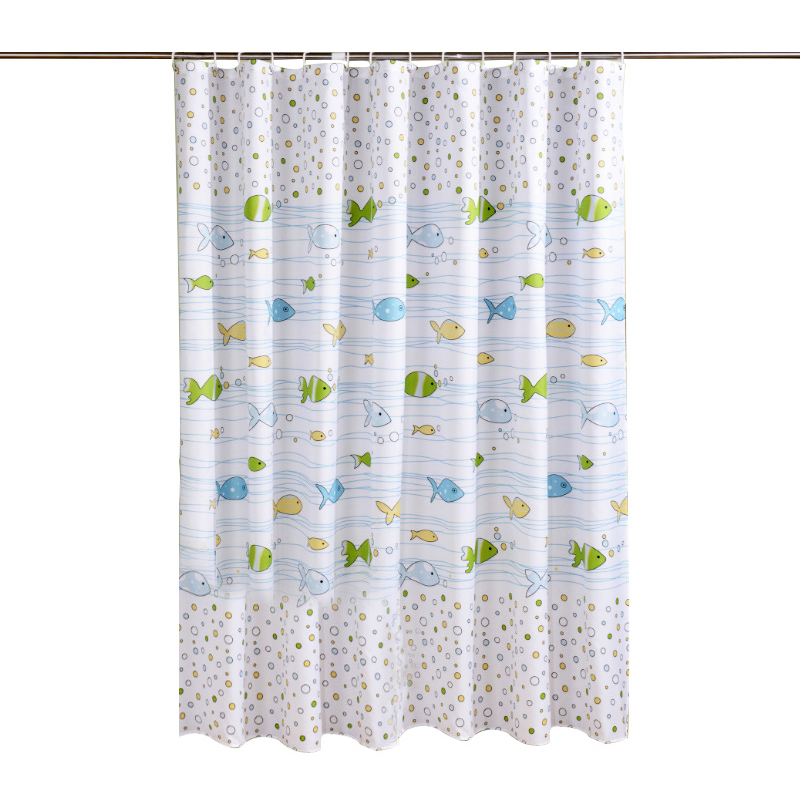 180x200cm Modern Fashion Shower Curtain Waterproof Bathroom Partition Curtain with Hooks Rings - Bubble Fish