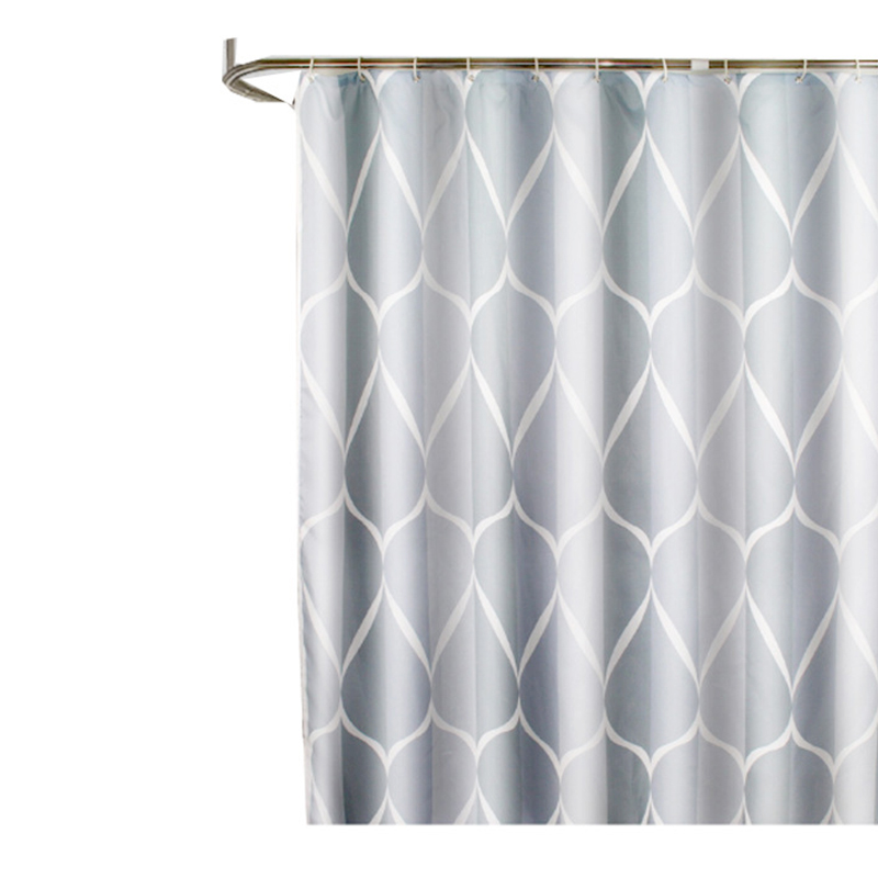 180x200cm Modern Fashion Shower Curtain Waterproof Bathroom Partition Curtain with Hooks Rings - Simple