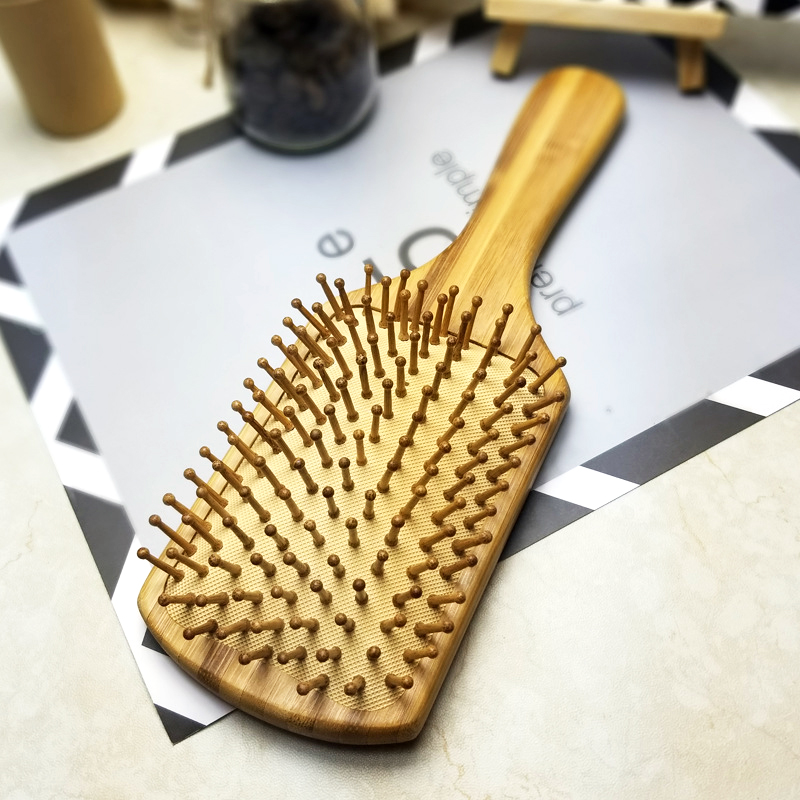 Massage Bamboo Comb Hair Vent Brushes Hair Care Combs - Square