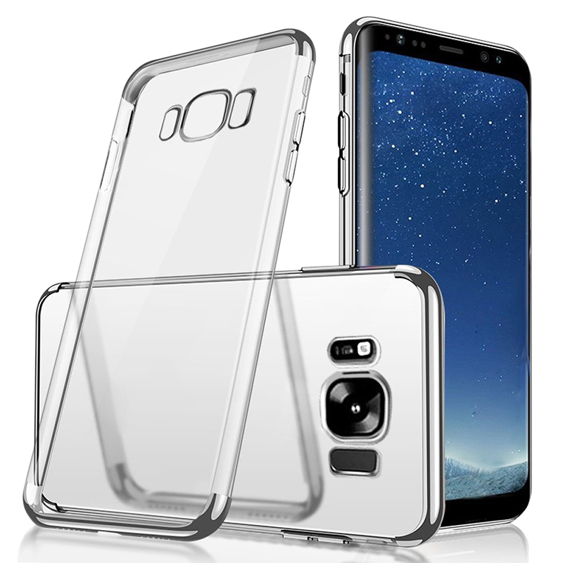 Plating Slim Soft TPU Phone Case Cover for Samsung Galaxy S8 Plus - Silver