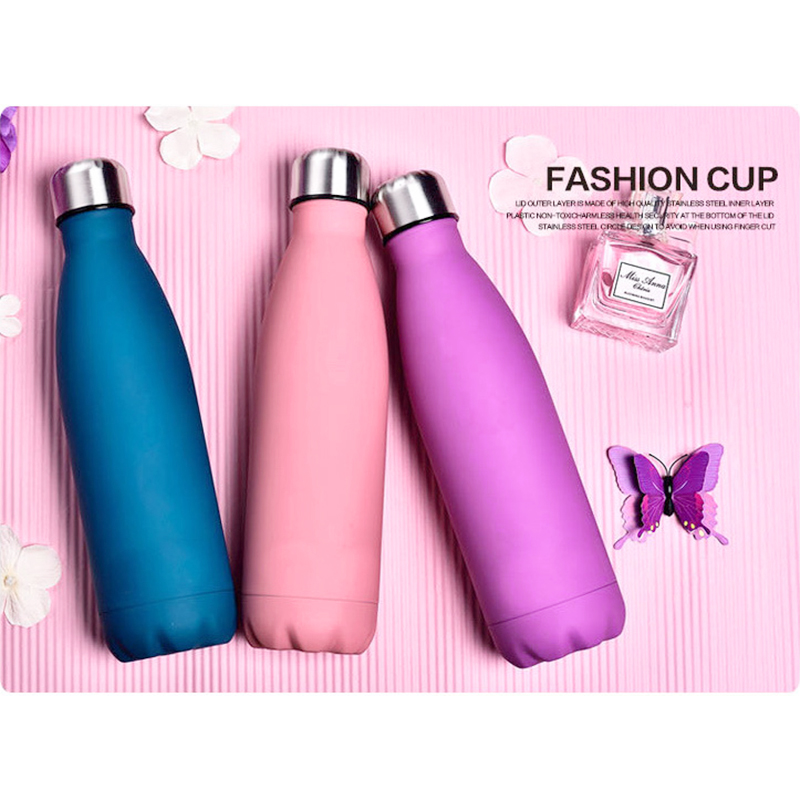 500ML Water Flask Stainless Steel Double Wall Vacuum Insulated Keep Hot and Cold Water Bottle - Matte Pink