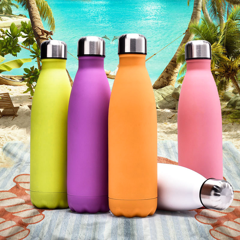 Rubber Paint 500ML Water Flask Stainless Steel Double Wall Vacuum Insulated Keep Hot and Cold Water Bottle - Matte White