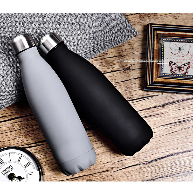 Rubber Paint 500ML Water Flask Stainless Steel Double Wall Vacuum Insulated Keep Hot and Cold Water Bottle - Matte Black