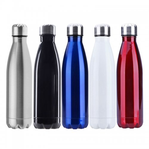 500ML Stainless Thermos Cola Shaped Double Wall Vacuum Water Bottle Flask - Glossy Black