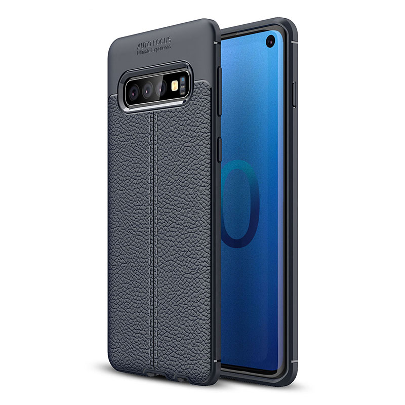 1.5 mm Thin Grainy Pattern Soft TPU Phone Cover Back Case for Samsung Galaxy S10 - Navy Blue