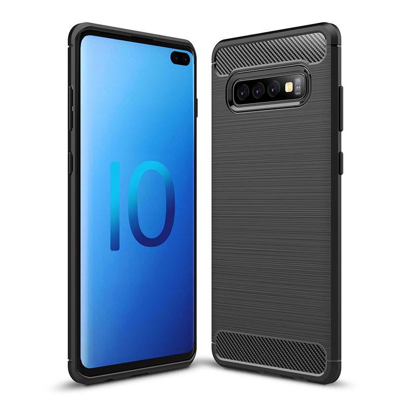 Anti-fingerprint TPU Carbon Fiber Pattern Phone Case Cover for Samsung Galaxy S10 Plus - Black