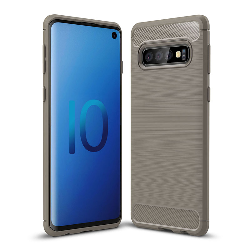 Ultra Slim Soft TPU Anti-shock Phone Case Cellphone Cover for Samsung Galaxy S10 - Grey