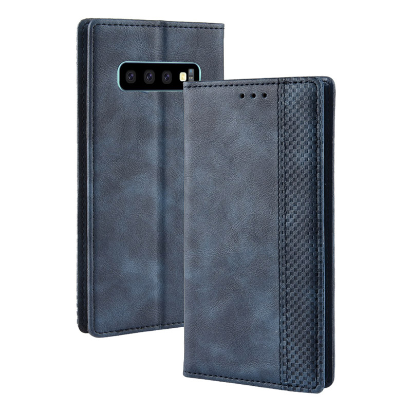 Retro Magnetic Card Slot Wallet Flip Leather Case for Samsung Galaxy S10 Plus - Blue