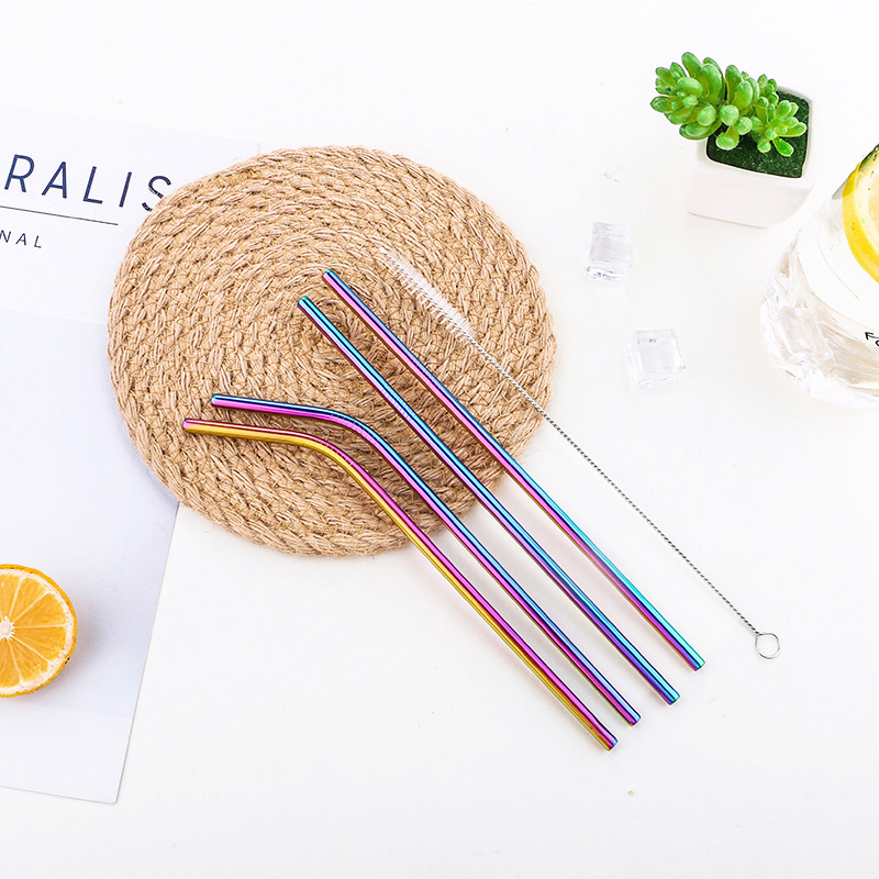4Pcs Stainless Steel Straw Reusable Metal Drinking Straw with Cleaner Brush for Home Bar - Rainbow Colour