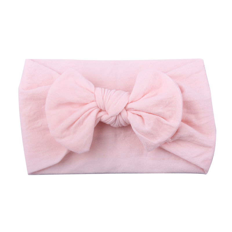 Girls Boys Baby Toddler Nylon Turban Cute Headband Hair Band Bow Pretty Headwear - Light Pink