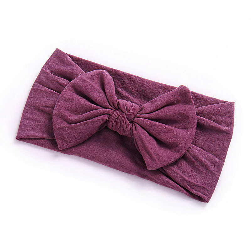Girls Boys Baby Toddler Nylon Turban Cute Headband Hair Band Bow Pretty Headwear - Dark Purple