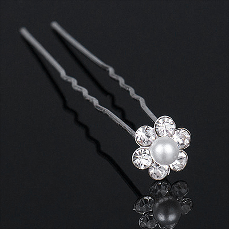 20pcs Pearl Rhinestone Alloy Flower Daisy Bride Hair Pins Wedding Hair Clips Pins Headdress - Rhinestone + Pearl