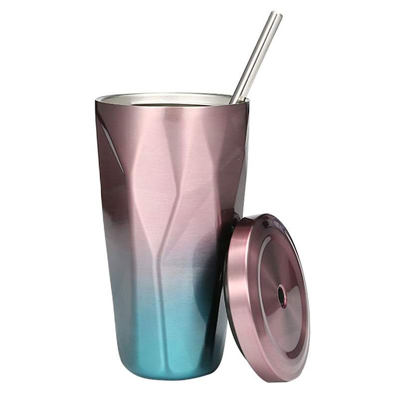 500ML Travel Mug Gradient Colour Cup with Straw Insulated Stainless Steel Tumbler Drinking Coffee Cup Water Bottle - Pink