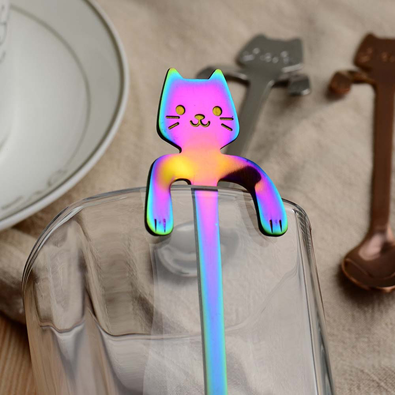 Small Mini Stainless Steel Cartoon Cat Coffee Spoon Stirring Spoon Tea Spoon - Rainbow Colour