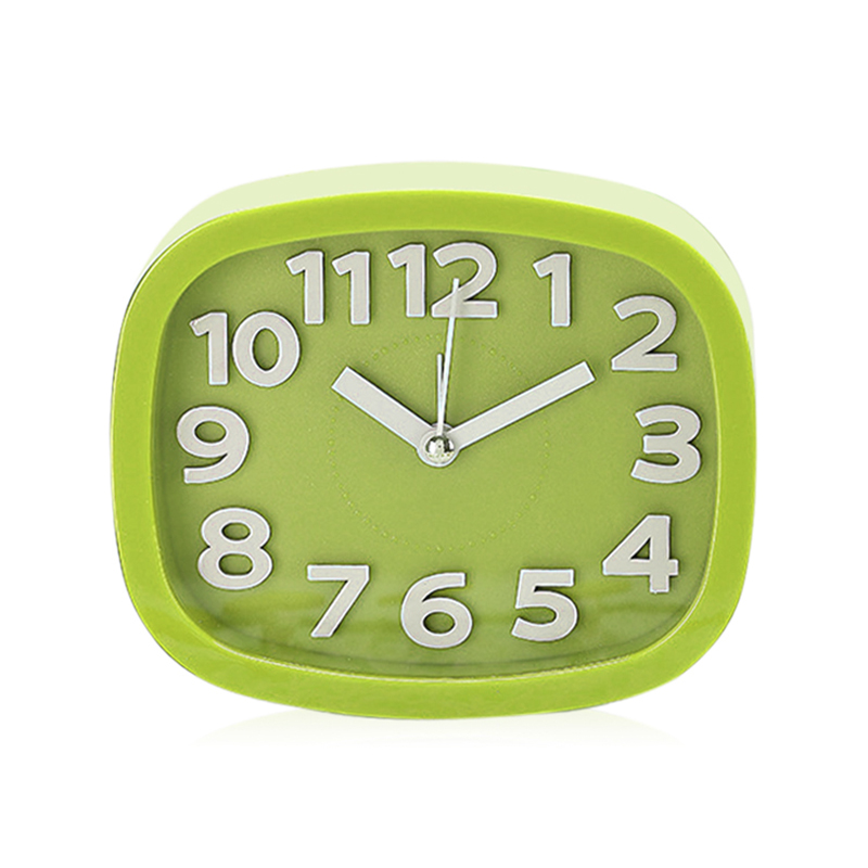Cartoon Cute Alarm Clock Simple Design Candy Colour Desktop Bedside Alarm Clock Rectangle - Green