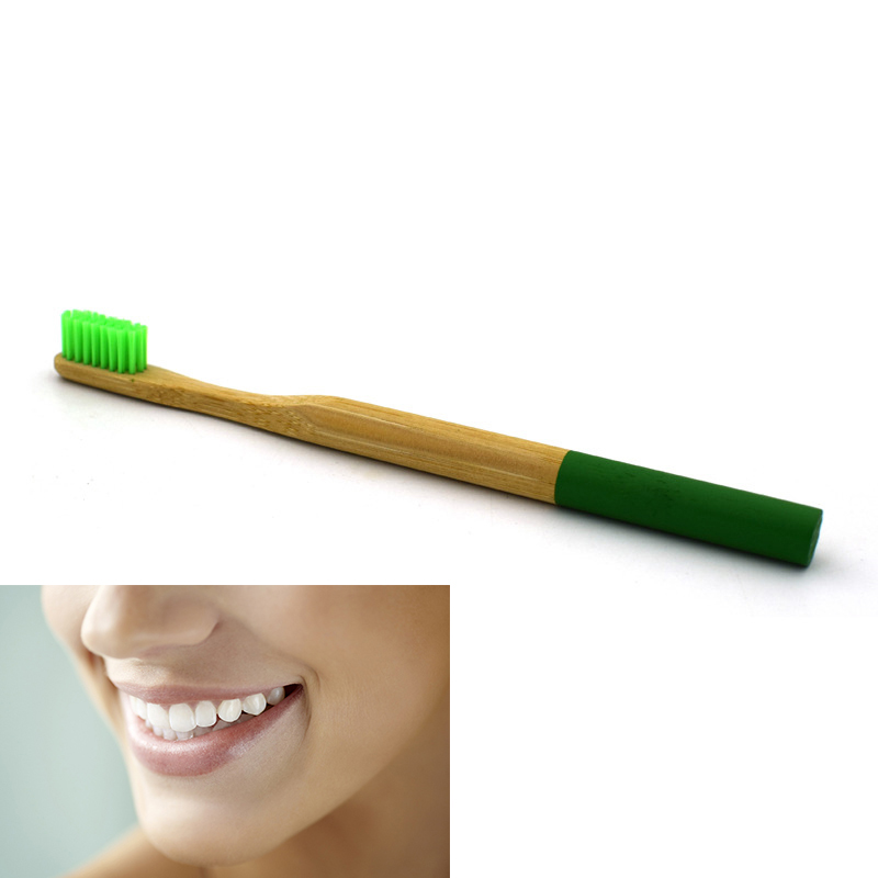 Eco Friendly Bamboo Round Handle Toothbrush Nylon Soft Hair Adult Reuseable Toothbrush - Green