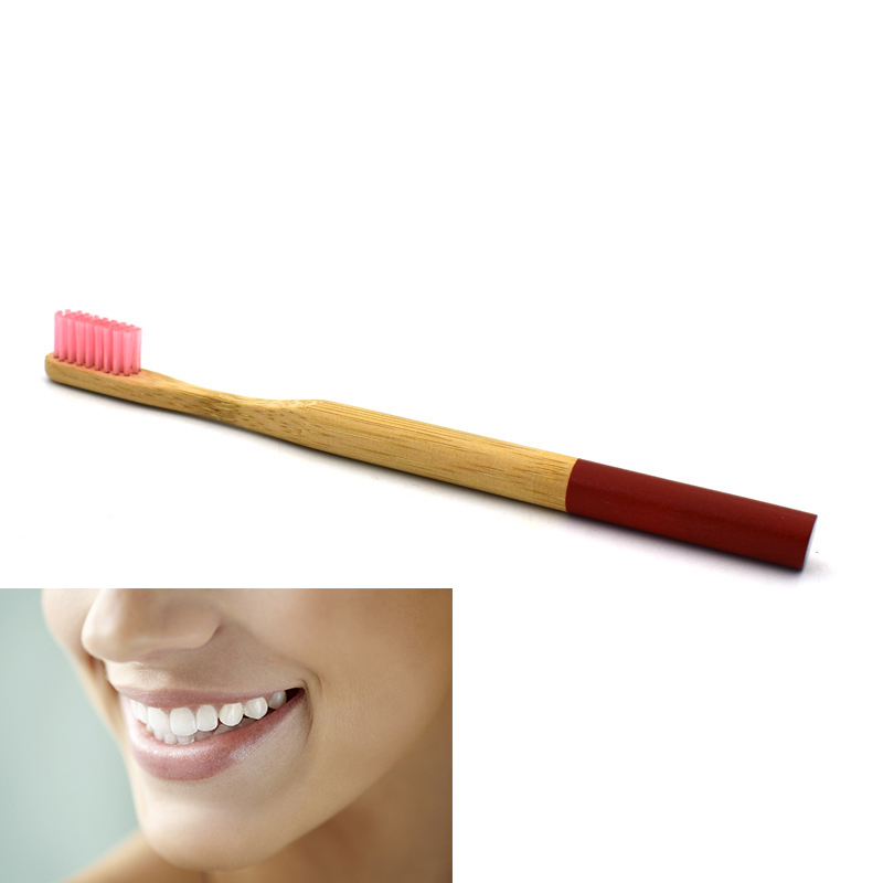 Eco Friendly Bamboo Round Handle Toothbrush Nylon Soft Hair Adult Reuseable Toothbrush - Red