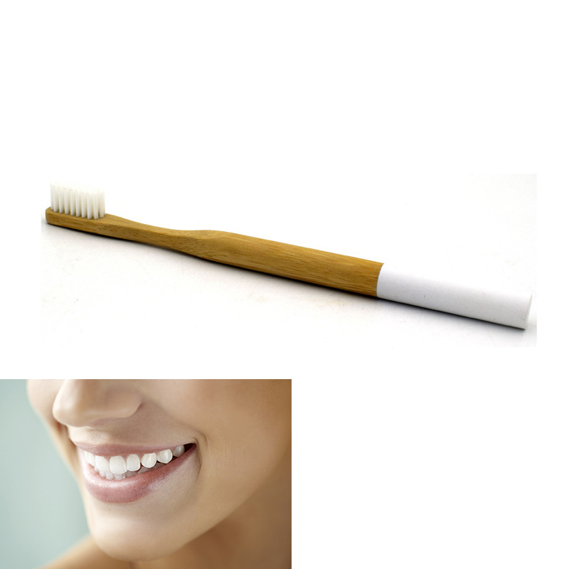 Eco Friendly Bamboo Round Handle Toothbrush Nylon Soft Hair Adult Reuseable Toothbrush - White