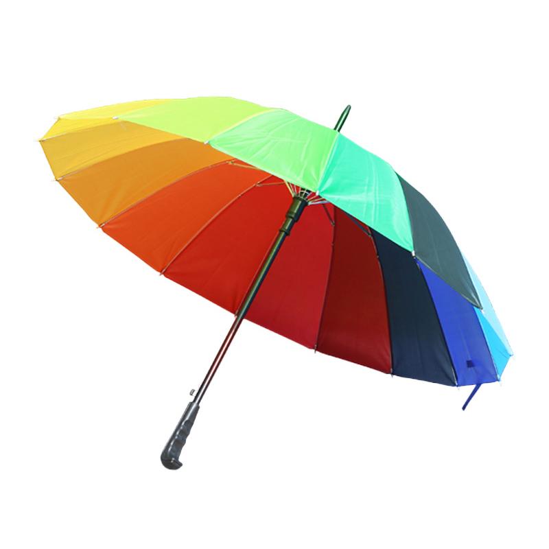 16 Umbrella Ribs Rainbow Fashion Long Handle Straight Anti-UV Sun Rain Stick Umbrella Big Parasol