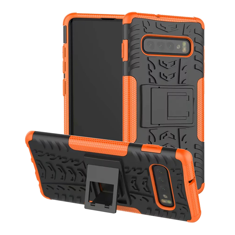 Heavy Duty TPU + PC Back Cover Phone Case for Samsung Galaxy S10 Plus - Orange