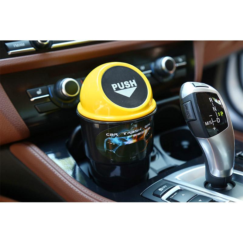 Durable Auto Mini Car Trash Garbage Auto Rubbish Bin Vehicle Waste Storage Can - Yellow