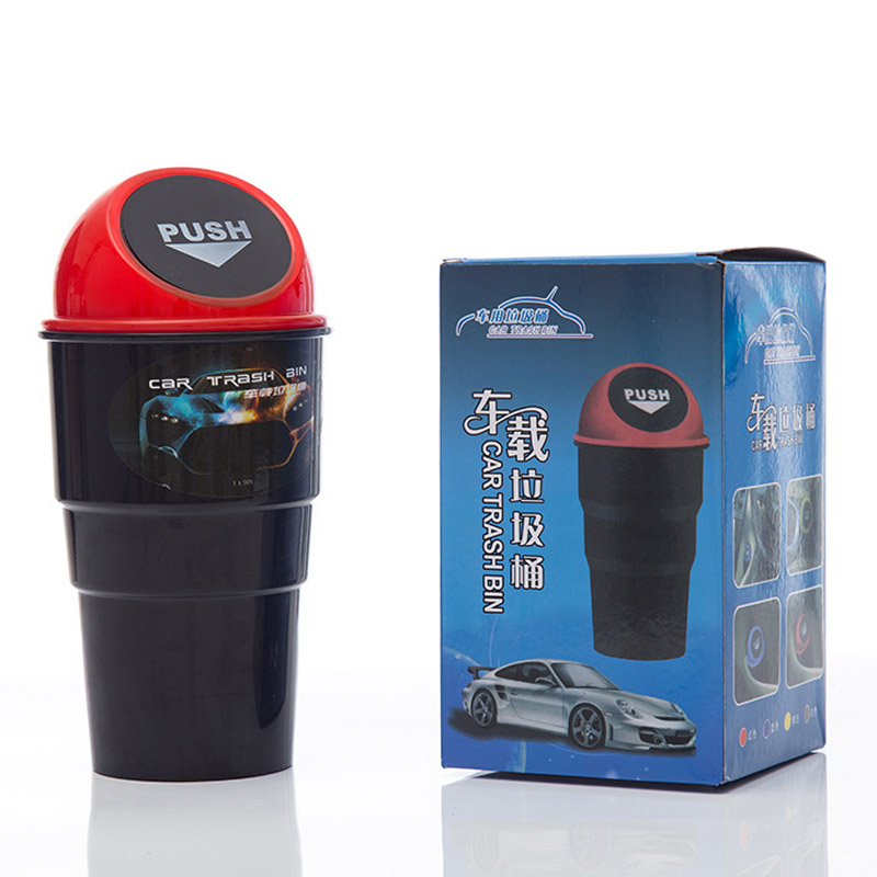 Durable Auto Mini Car Trash Garbage Auto Rubbish Bin Vehicle Waste Storage Can - Red
