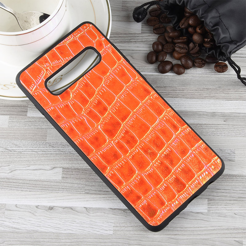 PU Leather + TPU Material Colorful Discoloration Soft Back Cover Case for Samsung Galaxy S10 Plus - Brown