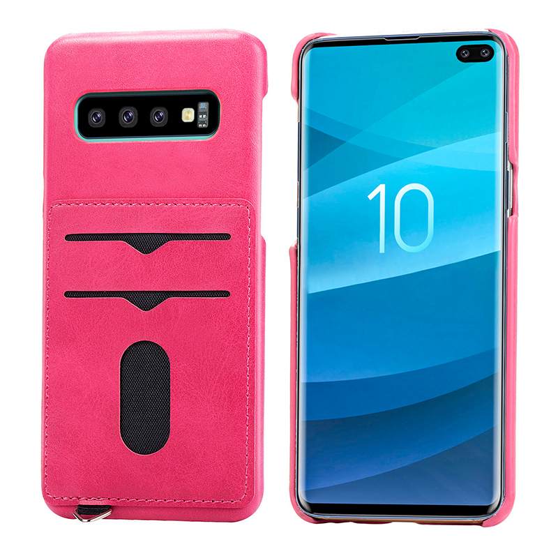 Simple Leather Grainy with Card Slots Back Case Phone Cover for Samsung Galaxy S10 Plus - Hot Pink