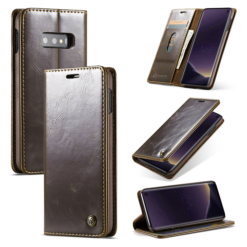 Retro Magnetic Card Slot Wallet Flip Leather Phone Case Back Cover for Samsung Galaxy S10e - Brown