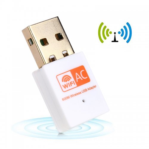 600Mpbs Dual-Band 2.4G/5G Wireless Network Adapter USB Wi-Fi Dongle Adapter - White