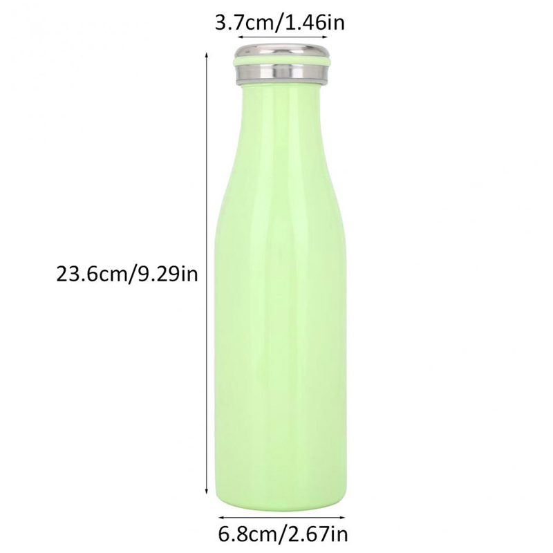 500ML Kids Child Student Stainless Steel Double Wall Vacuum Insulated Water Bottle Keep Hot and Cold - Green