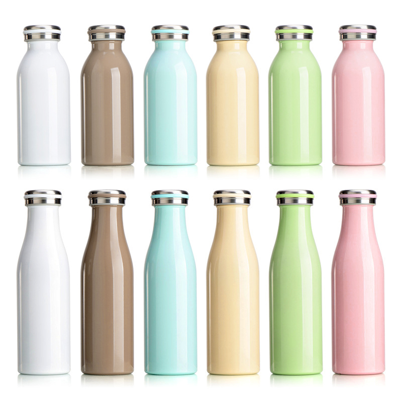 500ML Kids Child Student Cute Stainless Steel Double Wall Vacuum Insulated Water Bottle Keep Hot and Cold - Coffee