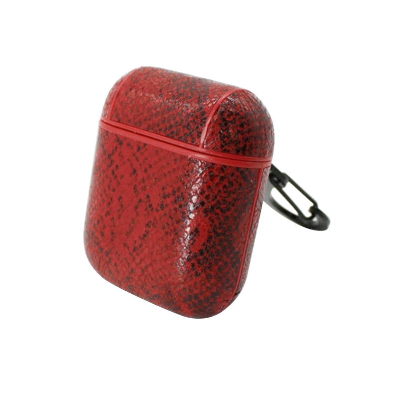 Snake Skin Leather Protective Case Box Anti-lost Wireless Earphones Pouch for Apple AirPods - Red