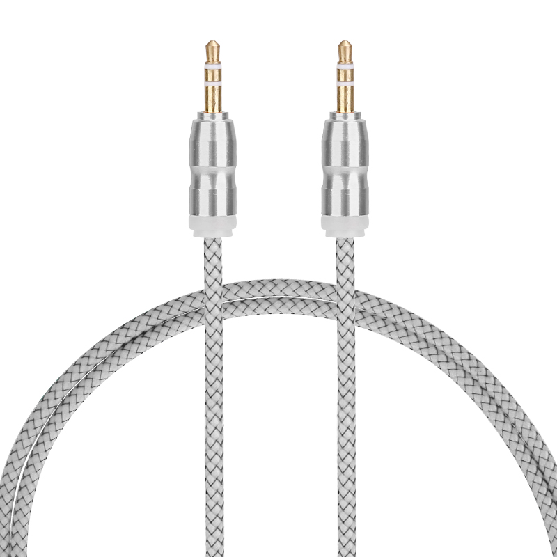 1m Car Aux Cable 3.5mm to 3.5mm Jack Male Audio Gourd Flat Braided Cable - White