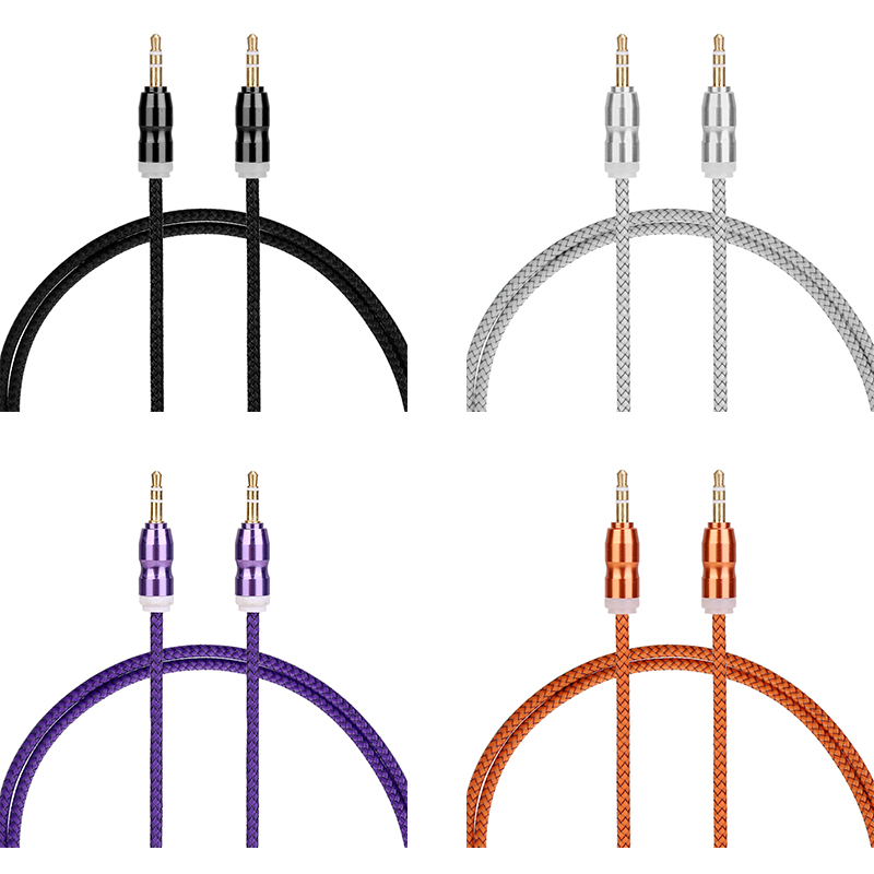 1m Car Aux Cable 3.5mm to 3.5mm Jack Male Audio Gourd Flat Braided Cable - Purple