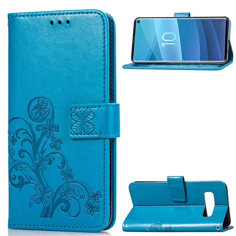 Lucky Clover Embossed Card Holder Case Full Wrap PU Leather Phone Case for Samsung Galaxy S10 - Blue