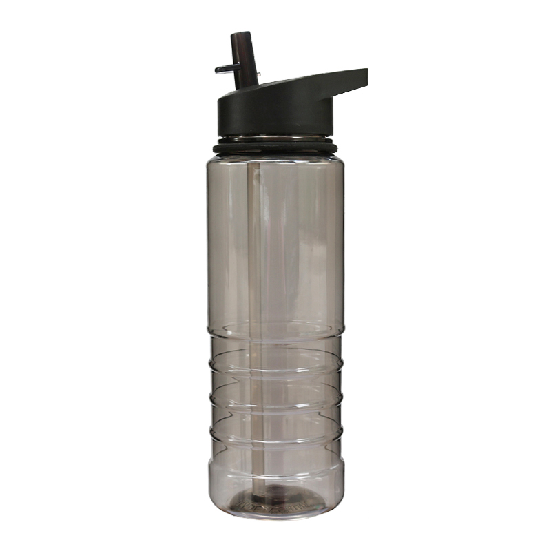 800ML Outdoor Sports Portable Drinking Water Bottle with Flip Straw - Black
