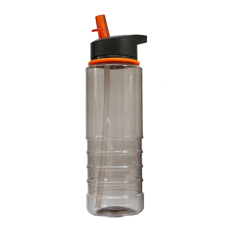 800ML Outdoor Sports Portable Drinking Water Bottle with Flip Straw - Orange