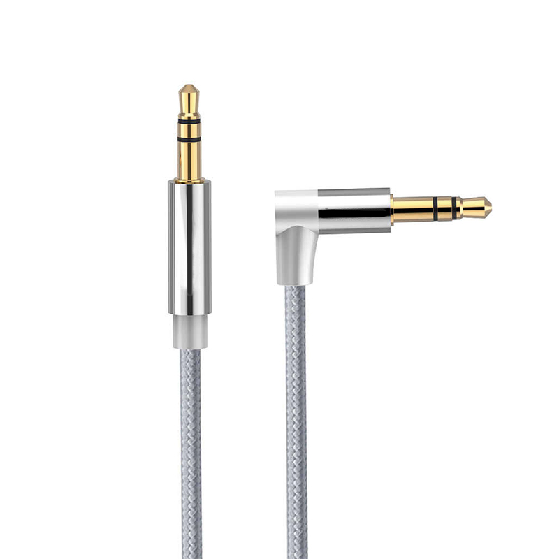 3.5 to 3.5 mm Jack Aux Cable Nylon Braided Car Audio Stereo Cable 2M - Grey