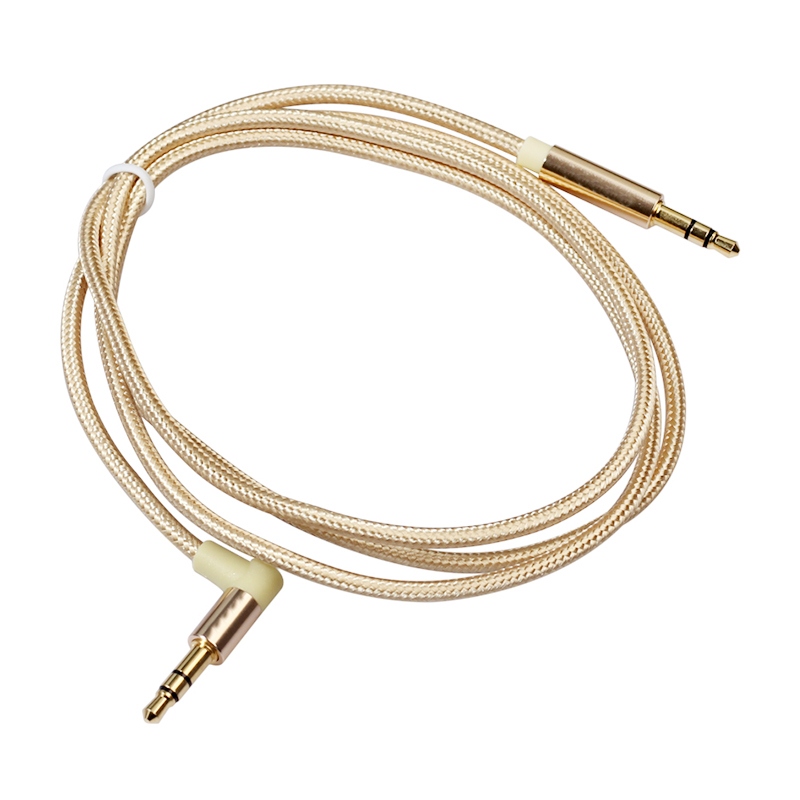 3.5 to 3.5 mm Jack Aux Cable Nylon Braided Car Audio Stereo Cable 2M - Gold
