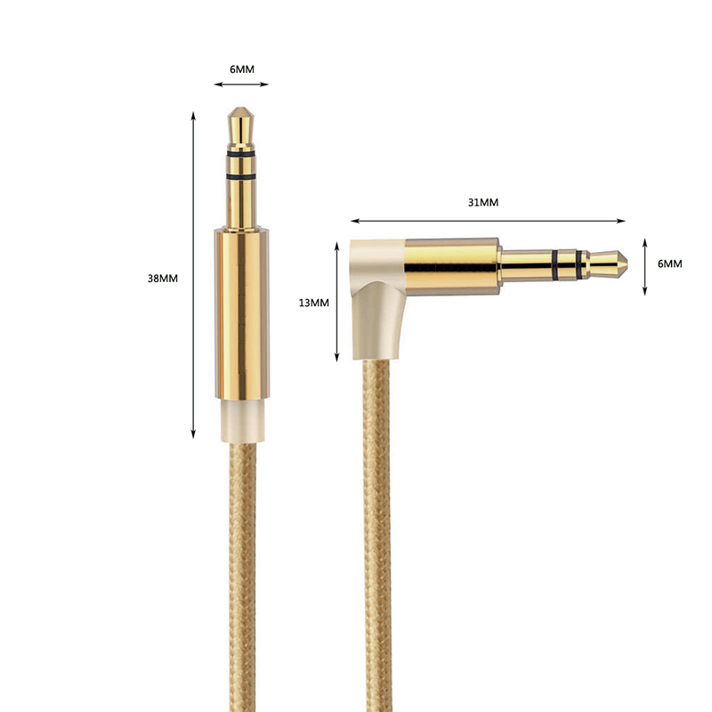 AUX Cable 3.5mm Jack Audio Cable Male to Male Car Headphone Speaker Braided Aux Cord 0.5M - Gold