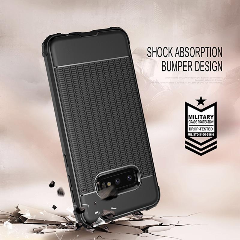 Slim TPU Back Case Soft Grainy Phone Case Lightweight Anti-fingerprint Cover for Samsung Galaxy S10e - Black