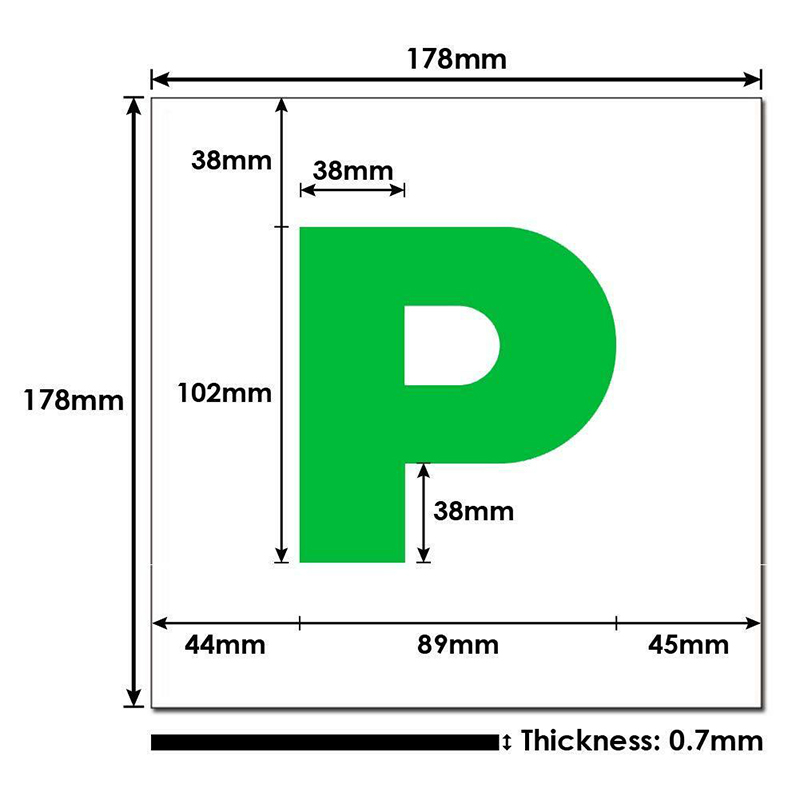 Fully Extra Strong Magnetic Exterior Car P Plate Sticker for New Learner Driver Just Passed