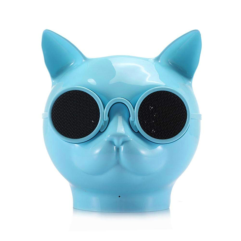 Mini Cat Head Colorful Wireless Bluetooth Speaker Cute Cartoon Music Audio Player Super Bass Loudspeaker - Blue