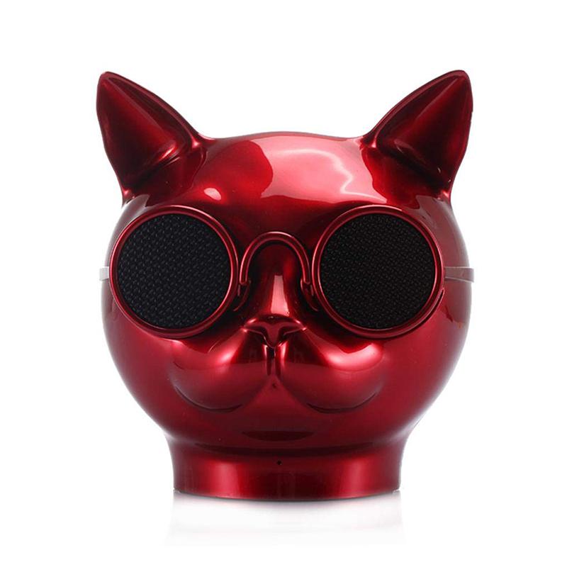 Mini Cat Head Colorful Wireless Bluetooth Speaker Cute Cartoon Music Audio Player Super Bass Loudspeaker - Red