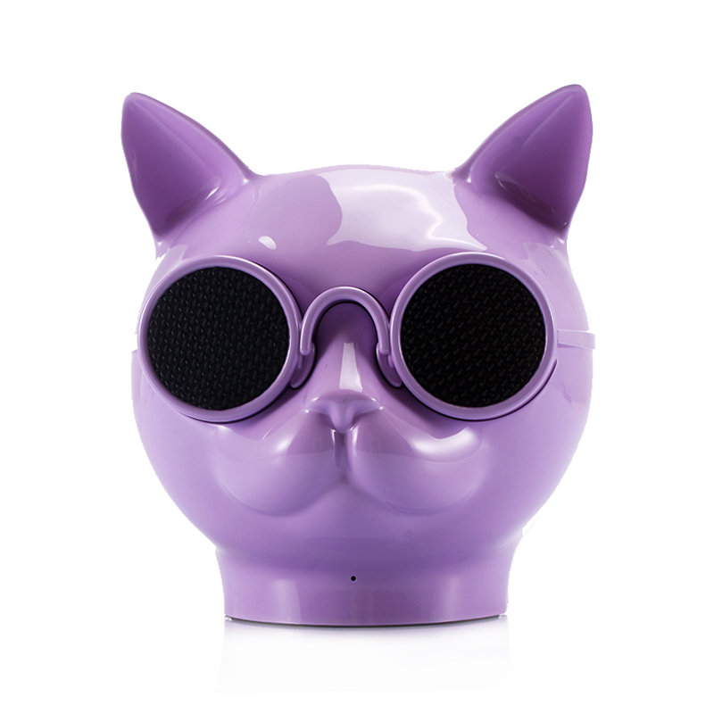 Mini Cat Head Colorful Wireless Bluetooth Speaker Cute Cartoon Music Audio Player Super Bass Loudspeaker - Purple